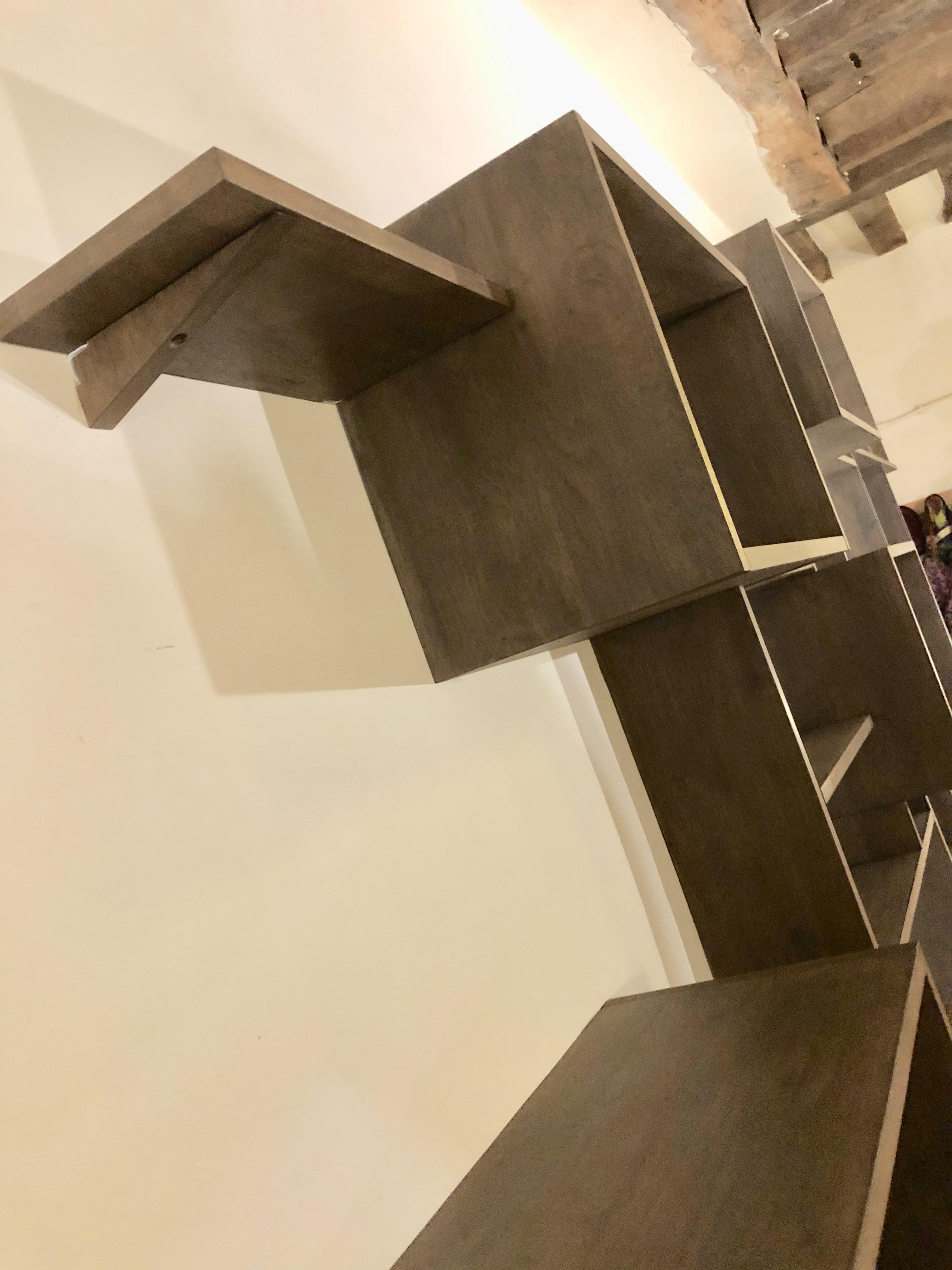 Blanc Basics Biblioth/èque /échelle moderne avec cadre en bois d/'h/év/éa massif